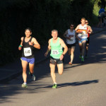 Green singlet (not his real name) and I battle it out on the final straight